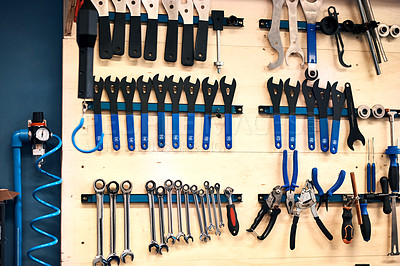 Buy stock photo Shot of tools in a workshop
