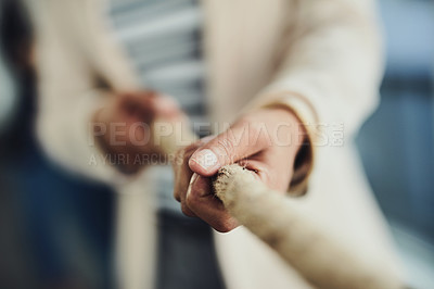 Buy stock photo Closeup shot of an unrecognizable businesswoman pulling on a rope