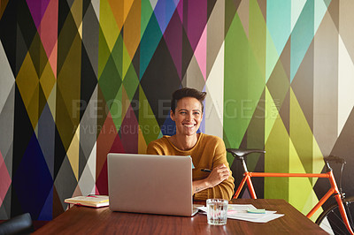 Buy stock photo Shot of a creative employee working in a modern office
