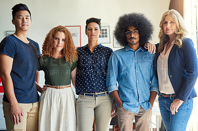 Buy stock photo Portrait of a group of diverse creative employees in a modern office