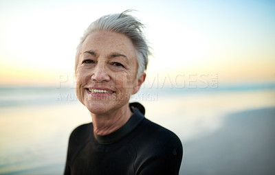 Buy stock photo Portrait of a senior woman at the beach