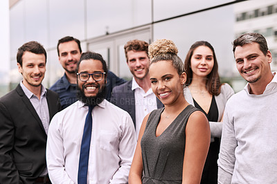 Buy stock photo Portrait of a group of businesspeople standing outside an office