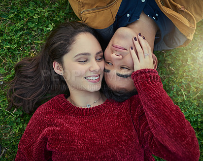 Buy stock photo High angle shot of a happy young couple laying together on the grass
