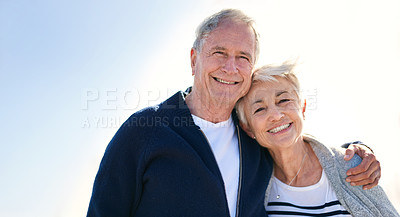 Buy stock photo Portrait of a happy senior couple spending a day outdoors
