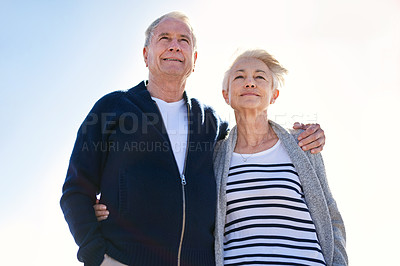 Buy stock photo Shot of a happy senior couple spending a day outdoors