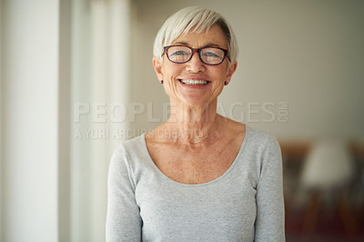 Buy stock photo Shot of a happy senior woman at home
