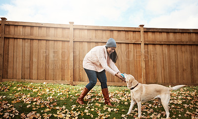 Buy stock photo Shot of a young woman playing with her dog outside