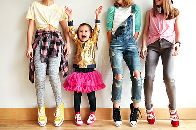 Buy stock photo Shot of young girls in a dancing studio