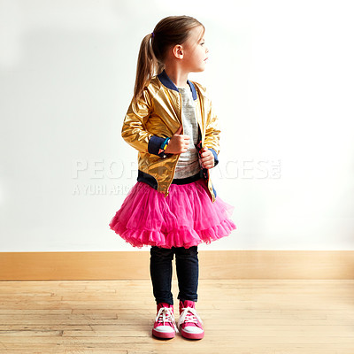 Buy stock photo Shot of a little girl in a dancing studio
