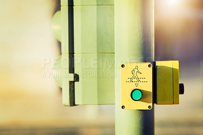 Buy stock photo Cropped shot of a pedestrian crossing button on a traffic light