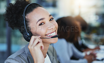 Buy stock photo Portrait of a young woman working in a call centre