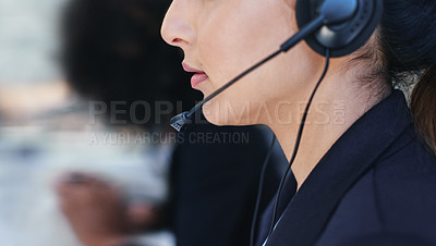Buy stock photo Closeup shot of a young woman working in a call centre
