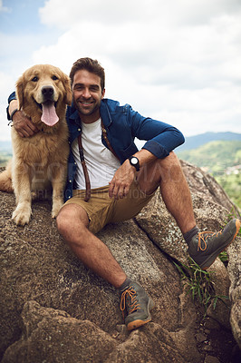 Buy stock photo Full length portrait of a handsome young man and his dog taking a break during a hike in the mountains