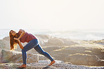 Improving her flexibility with yoga