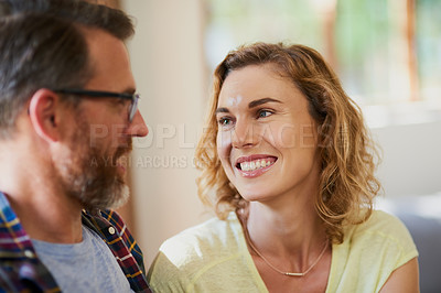 Buy stock photo Cropped shot of a mature married couple at home
