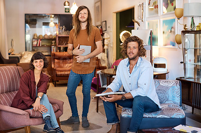 Buy stock photo Portrait of three colleagues in a furniture store