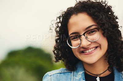 Buy stock photo Portrait of a beautiful teenage girl outdoors