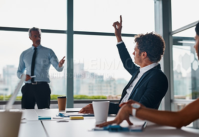 Buy stock photo Cropped shot of corporate businesspeople having a meeting in the boardroom