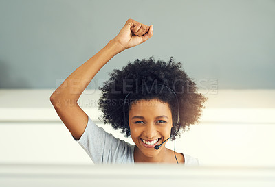 Buy stock photo Shot of an attractive young woman working in a call center