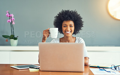 Buy stock photo Cropped portrait of an attractive young businesswoman working at home