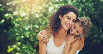 Buy stock photo Shot of an affectionate little girl spending quality time with her mother outdoors
