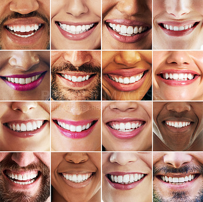 Buy stock photo Composite shot of a diverse group of people smiling