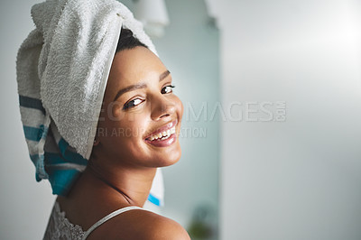 Buy stock photo Portrait of an attractive young woman standing in the bathroom at home