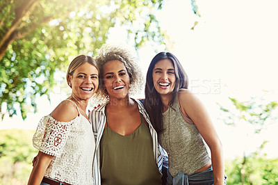 Buy stock photo Portrait of a group of friends bonding together outdoors