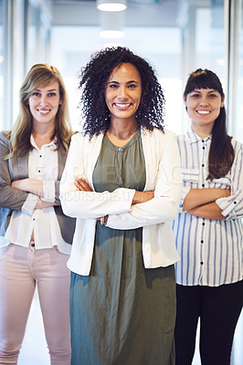 Buy stock photo Portrait of a group of businesswomen in the office