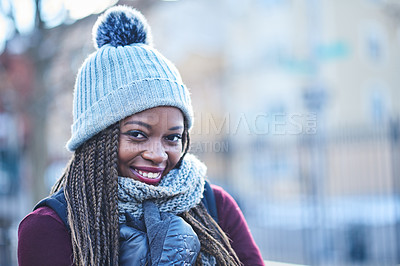 Buy stock photo Portrait of a beautiful young woman enjoying a wintery day outdoors