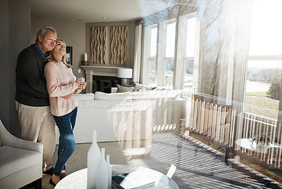 Buy stock photo Shot of a senior married couple spending time together at home