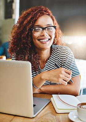 Buy stock photo Portrait of an attractive young woman working in a cafe