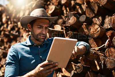 Buy stock photo Cropped shot of a lumberjack using his tablet while standing in front of a pile of wood