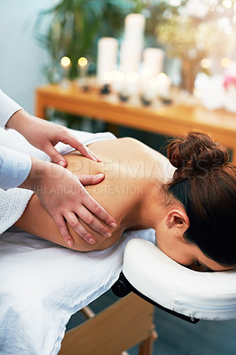 Buy stock photo Shot of a young woman enjoying a beauty treatment at a spa