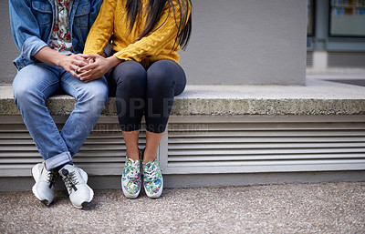 Buy stock photo Cropped shot of an unrecognizable couple on campus