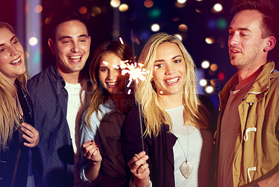Buy stock photo Portrait of a group of friends having fun at a nightclub