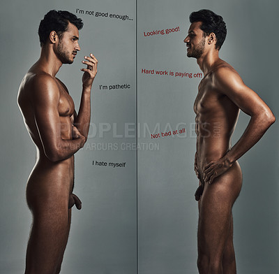 Buy stock photo Studio shot of a handsome and naked young man dealing with body image issues against a grey background