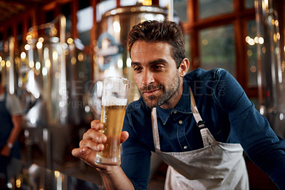 Buy stock photo Shot of a cheerful young business owner holding up a glass of beer that he just poured inside of a beer brewery during the day