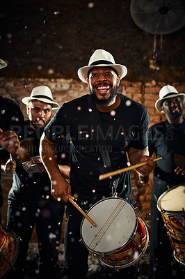 Buy stock photo Portrait of a group of musical performers playing drums together