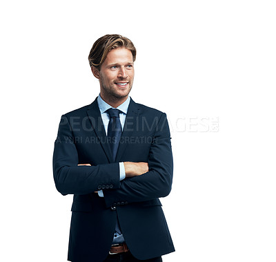 Buy stock photo Studio shot of a handsome young businessman isolated on white