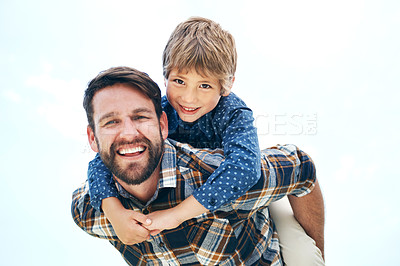 Buy stock photo Portrait of a father and his little son bonding together outdoors