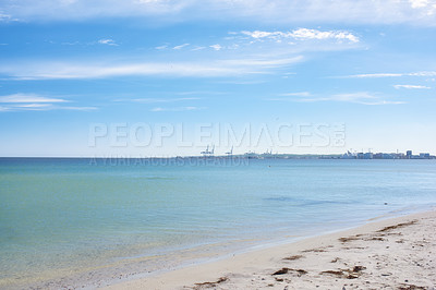 Buy stock photo A calm summer day at the beach and shoreA calm summer day at the beach and shoreA calm summer day at the beach and shore