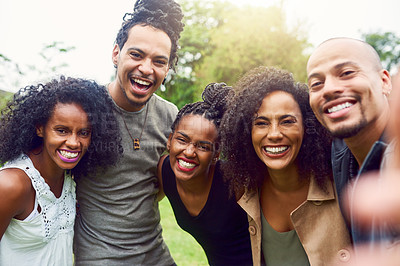 Buy stock photo Cropped shot of friends spending time together outdoors