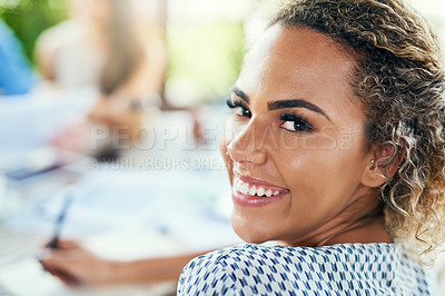 Buy stock photo Portrait of a young businesswoman having a meeting with her colleagues outdoors