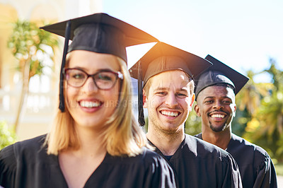 Buy stock photo Shot of students on graduation day from university