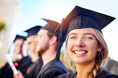 Buy stock photo Defocused shot of students on graduation day