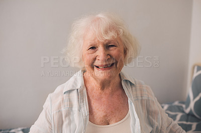 Buy stock photo Shot of a happy senior woman in an old age home