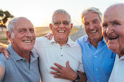 Buy stock photo Portrait of a group of senior men standing together