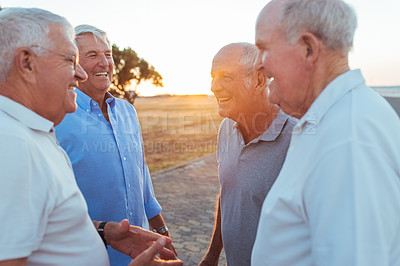 Buy stock photo Shot of seniors talking to each other outside