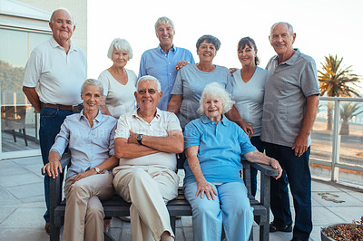 Buy stock photo Shot of a group of seniors spending time outdoors
